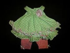 Pippa & Julie Baby Girl Green Polka Dot Ruffle Tunic Plaid Leggings Outfit 3 M