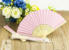 UK 10 x Stunning Pink Silk Fans With Gift Bag Bridal Wedding Favours Beach Party
