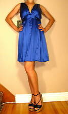 $264 Jenny Han Royal Blue Silk Pleated Empire Waist V-Back V-Neck Dress S M NWT