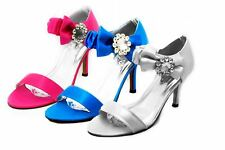 Ladies satin high heel wedding shoes with large diamante side bow