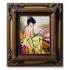 "Eli Frames Upscale Gallery Picture Frame Wood Brown Cherry Gold Leaf 3.5"" Wide +"