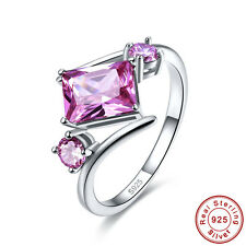 Free Jewelry Box Emerald Cut Pink Topaz S925 Sterling Silver Ring Size 6 7 8 9