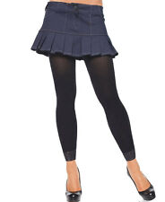 New Leg Avenue 7883 Nylon Footless Tights With Lace Trim