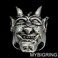 STERLING SILVER MENS GOTHIC RING SMILING DEVIL HEAD EVIL SATAN LUCIFER ANY SIZE
