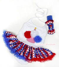 4th July White Red White Blue Birthday Halterneck Jumpsuit USA Flag Dress NB-2Y
