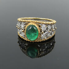 Vintage Buccellati 0.12ct Diamond & 1.50ct Emerald Hand Carved 18K Gold Ring