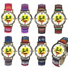 Funny Love Money Currency Emoji Face Smiley Denim Band Casual Sport Wrist Watch