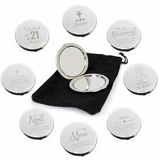 Personalised Compact Mirrors, Birthday, Bridesmaid, Mum, Nan, Mother's Day Gifts