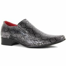 Mens Gentleman Slip On Faux Snakeskin Loafer Genuine Leather Pointed Toe Shoes