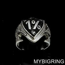 STERLING SILVER MENS OUTLAW BIKER RING ONE PERCENTER DRAGON SHIELD 1%ER ANY SIZE