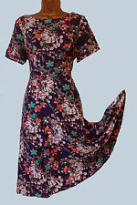 NEW EX MONSOON BLUE PEACH FLORAL VINTAGE STYLE TEA  DRESS8 10 12 14 16 18 20 22