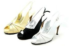 Ladies Shimmer high heel sling back wedding shoes with diamante rouched peep toe