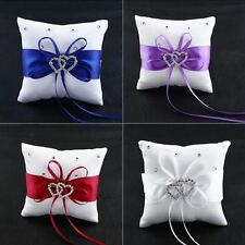 Bridal Romantic Satin White Heart Party Ceremony Bearer Wedding Ring Pillow