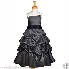 NEW BLACK FLOWER GIRL DRESS WEDDING BUBBLE FLOWER GIRL DRESS 4 6 7 8 10 12 14 16