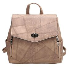 Vintage Flap Solid Synthetic Leather Backpacks bag with Convertible Strap