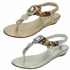 Ladies Spot On Low Wedge Toepost Jewelled Sandals
