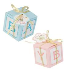 12pcs Pink/Blue Candy Gift Boxes Bags Girl Boy Baby Shower Favor Birthday Party