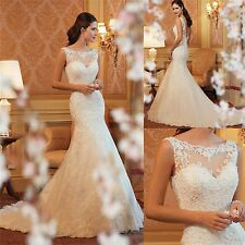New White/Ivory Mermaid Lace Wedding Dress Bride Gown Size:6/8/10/12/14/16