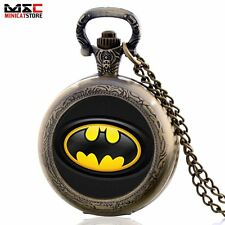 Antique Batman Superman Vintage Pocket Quartz Watch Necklace Chain Gift Retro UK
