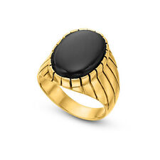 Golden Volcano 14K Gold Plated Men Collection Black Onyx Gold Ring