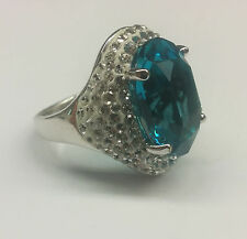 Luminesse Swarovski Elements Inspire White and Blue Crystal Cocktail Ring - New