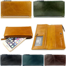 Men's Clutch Zipper Change Purse Real Genuine Leather Wallet Long Card Holder