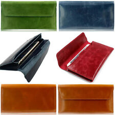 New Women Genuine Leather Clutch Purse Lady Long Handbag Wallet Phone Cover Case