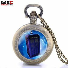Vintage Police Box Space Antique Pocket Watch Necklace Quartz Pendant Chain Gift