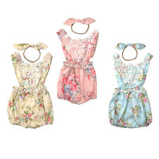 Newborn Baby Girl Cotton Floral Romper Bodysuit Sunsuit Headband Clothes Outfits