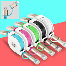 Retractable 1M 2 in 1 Micro USB+Lightning Data Sync Charger iPhone Android Cable