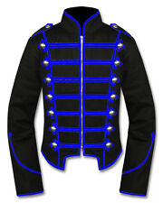 Men Blue/Black Handmade Military Marching Band Drummer Jacket New Style