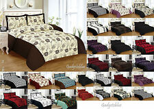 New 3pcs Faux Silk Quilted Bedspread 21 vivid Colours Double & King Size NEW