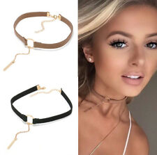 90'S Punk New Fashion 4 Colors Leather Choker Necklace Gold Plated Geometry With