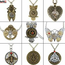 Retro Vintage Steampunk Jewelry Gear Pendant Necklace Choker Locket Chain Gift