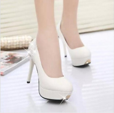 Womens High Heels Shoes Platform Pump Stilettos Round Toe Back Rhinestones New 5