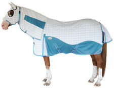 CARIBU HYBRID Attached Hood Horse Rug. Paddock Ripstop & Mesh Inserts. TURQUOISE