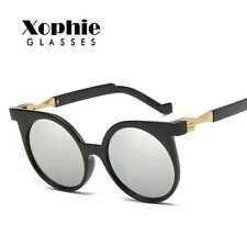 Womens Retro Fashion Round Flat Lens Mirrored Sunglasses Eye Glasses Eyewear