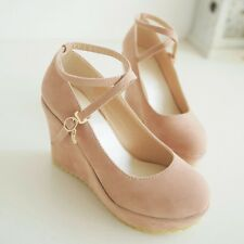 Fashion Womens Suede High Heels Platforms & Wedges Ankle Straps Pumps Shoes