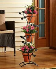 **NEW** 3 POT METAL PLANT STAND- VERTICAL OR HORIZONTAL YARD DECOR