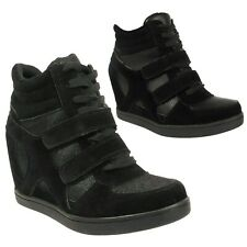 Ladies Sneakers Women Mid High Hi Top Ankle Wedge Heel Boots Trainers Shoes Size