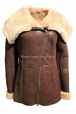 Luxury Ladies Winter Warm Real Shearling Sheepskin Leather Fur Hood Jacket Coat