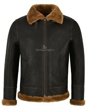 New Deluxe Men's Brown B3 Premium Shearling Sheepskin Real Leather Flying Jacket