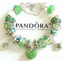 NEW Authentic PANDORA Sterling Silver BRACELET with European CHARMs & Beads #25