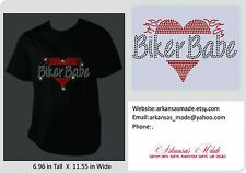 Biker Babe in rhinestones with a heart and flames.