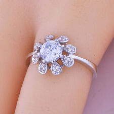 Wedding Womens jewelriy White gold filled flower clear crystal Ring size 6 7