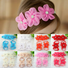 Baby Girl Kids Barefoot Sandals Shoes Fashion Headband Crystal Flower Foot Band