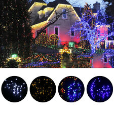 12M 100 LED White Solar String Fairy Lights Outdoor Garden Lawn Xmas Party EG
