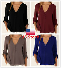 Sexy Lady Chiffon V Neck Office Shirt Women Long Sleeve Blouse Casual Plain Tops