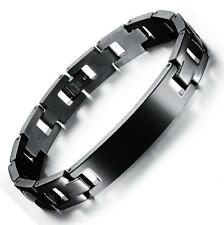 Men's spanish bible cross bangle black stainless steel bracelet Free engraving