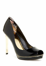 NEW Ted Baker Phhylis Women's Patent Leather Pump Dressy Open Toe Heels Black